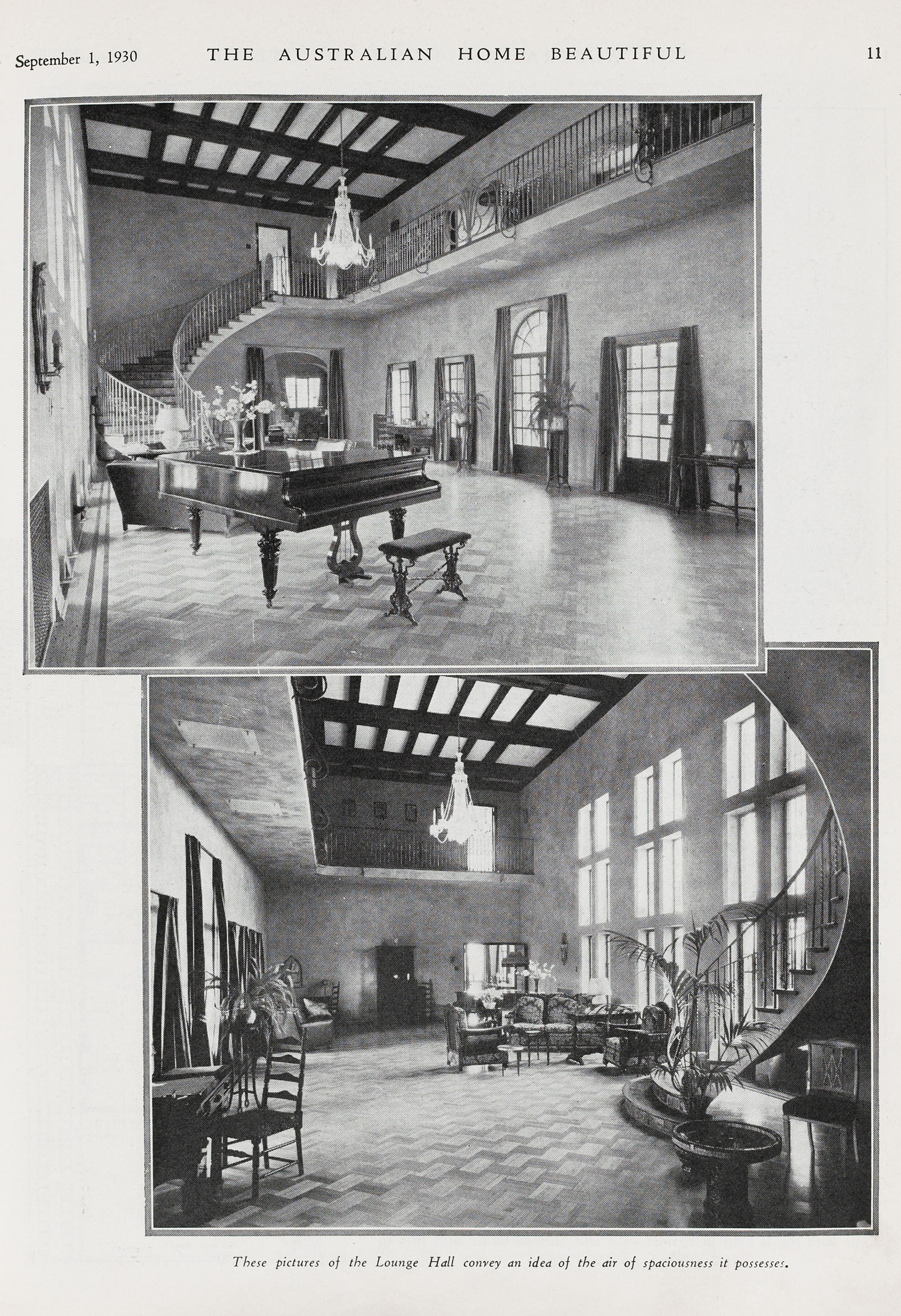 Old pictures of the Amberley lounge hall from 1930 Australian Homes Beautiful magazine.